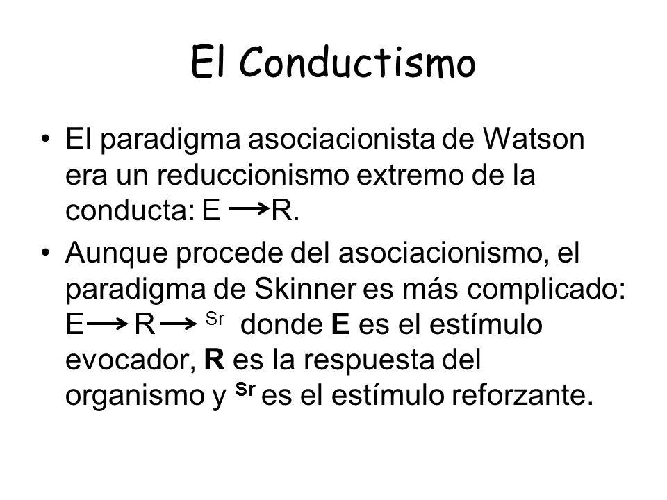 El Conductismo El paradigma asociacionista de Watson era un reduccionismo extremo de la conducta: E R. Aunque procede del asociacionismo, el paradigma