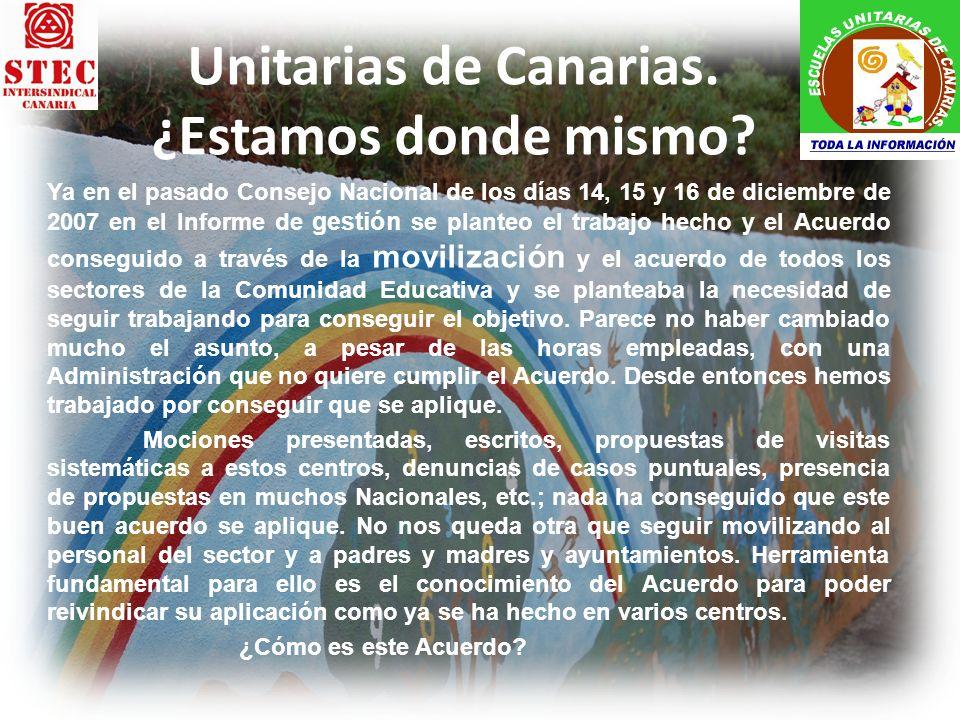 ESQUEMA DEL ACUERDO ACUERDO MARCO SOBRE LOS SERVICIOS EDUCATIVOS PUBLICOS EN LAS ESCUELAS UNITARIAS DE CANARIAS FINALIDAD Y OBJETIVOS DEL ACUERDO 1.-Nominación y definición A) RATIOS Y UNIDADES B) CRITERIOS CORRECTORES D) ORGANIZACIÓN DEL MAPA ESCOLAR C) PROFESORADO Y OTROS RECURSOS E) DISPOSICIÓN FINAL