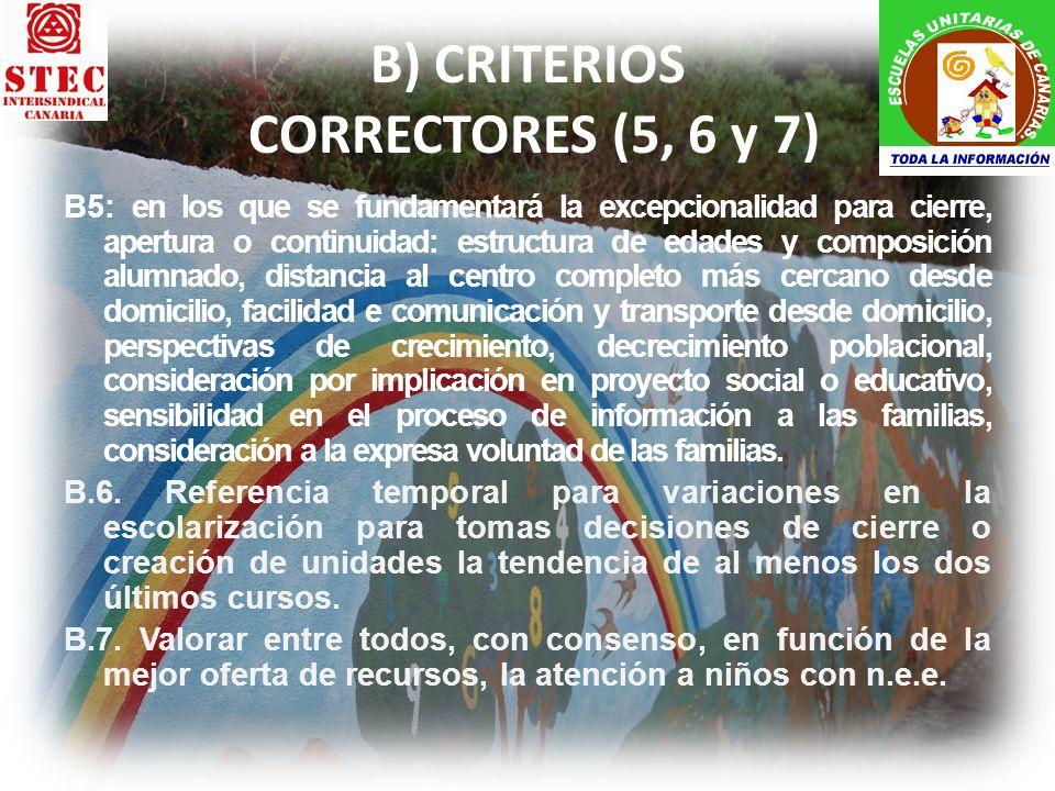 B) CRITERIOS CORRECTORES (5, 6 y 7) B5: en los que se fundamentará la excepcionalidad para cierre, apertura o continuidad: estructura de edades y comp