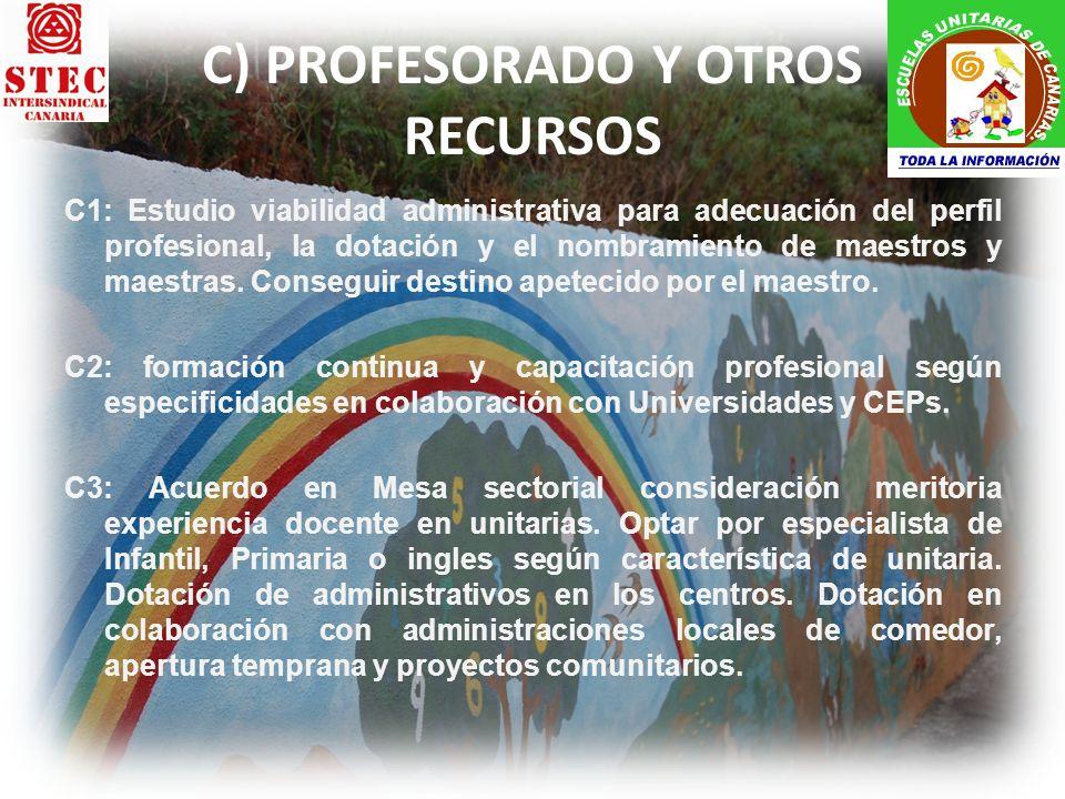 C) PROFESORADO Y OTROS RECURSOS C1: Estudio viabilidad administrativa para adecuación del perfil profesional, la dotación y el nombramiento de maestro