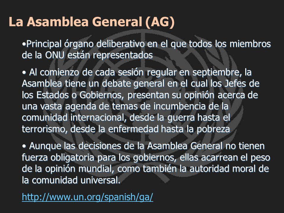Principal órgano deliberativo en el que todos los miembros de la ONU están representadosPrincipal órgano deliberativo en el que todos los miembros de
