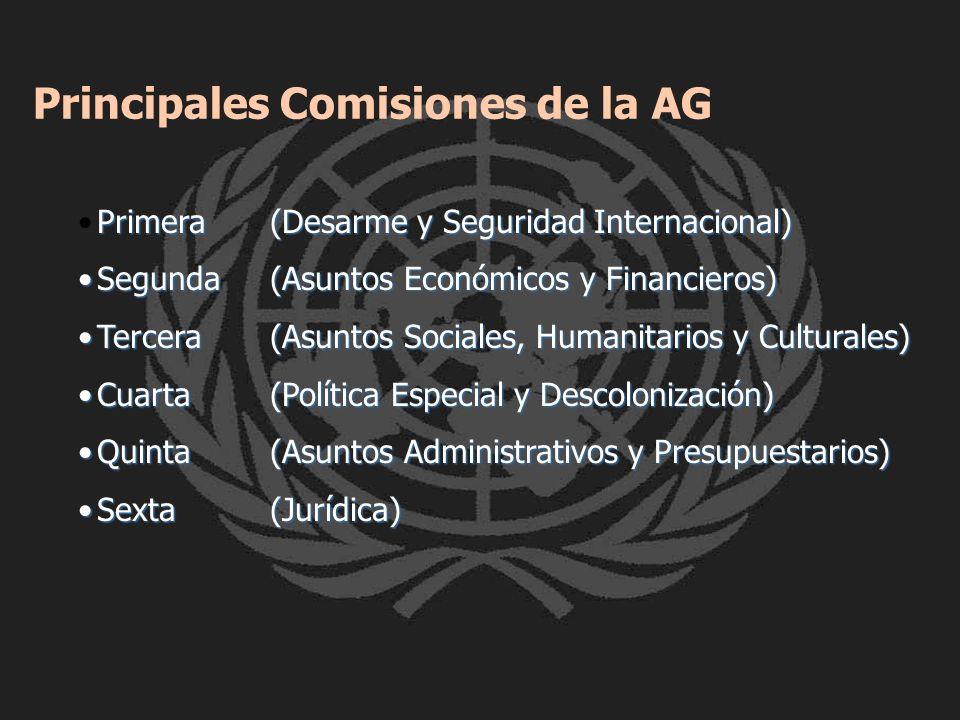 Principales Comisiones de la AG Primera(Desarme y Seguridad Internacional)Primera(Desarme y Seguridad Internacional) Segunda(Asuntos Económicos y Fina
