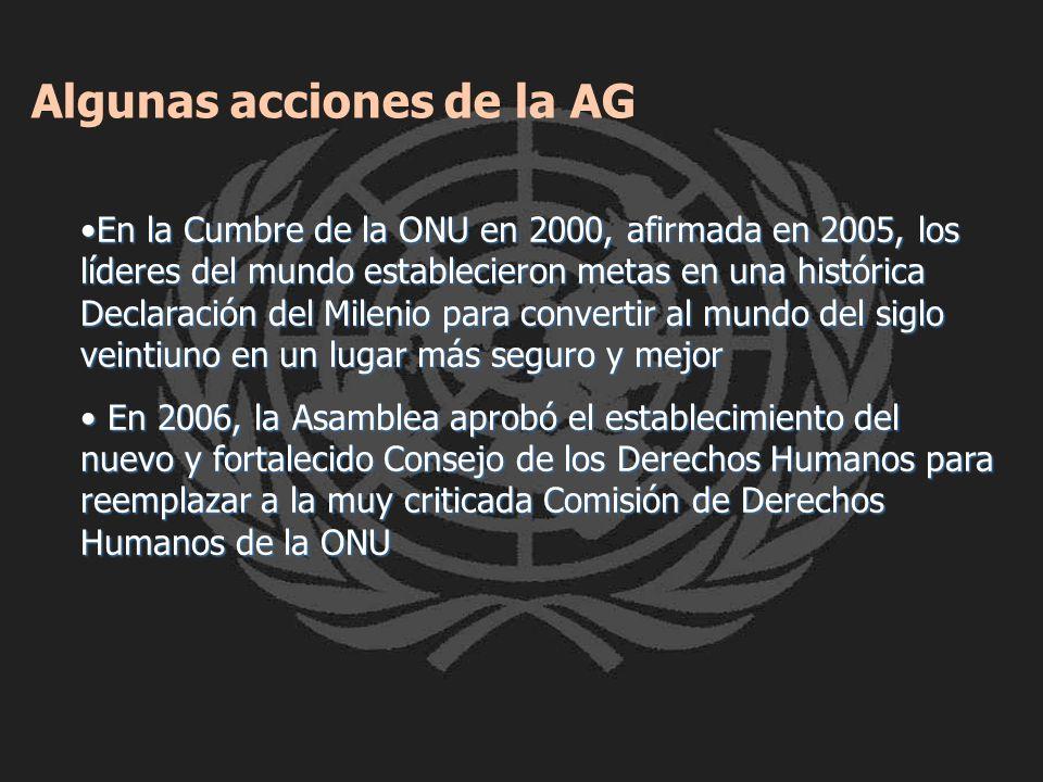 Algunas acciones de la AG En la Cumbre de la ONU en 2000, afirmada en 2005, los líderes del mundo establecieron metas en una histórica Declaración del