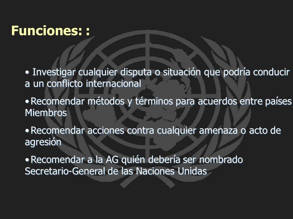 Funciones: : Investigar cualquier disputa o situación que podría conducir a un conflicto internacional Investigar cualquier disputa o situación que po
