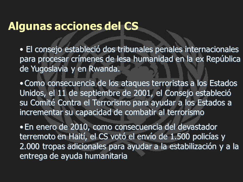 Algunas acciones del CS El consejo estableció dos tribunales penales internacionales para procesar crímenes de lesa humanidad en la ex República de Yu