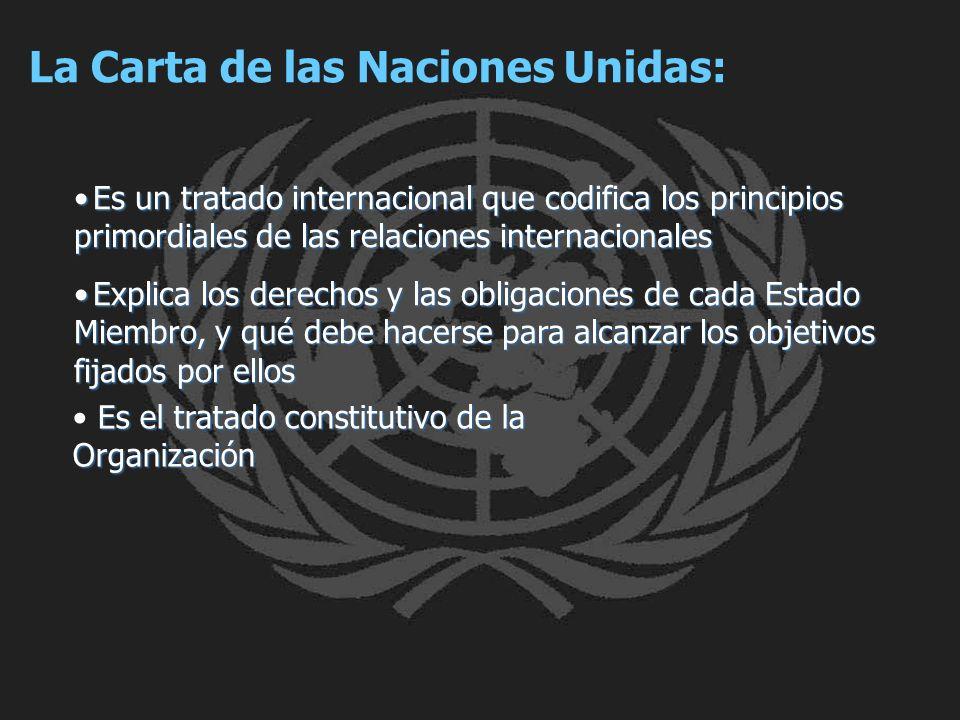 La Carta de las Naciones Unidas: Es un tratado internacional que codifica los principios primordiales de las relaciones internacionalesEs un tratado i