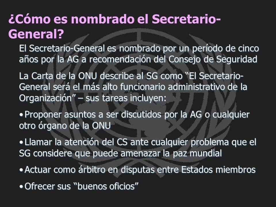 ¿Cómo es nombrado el Secretario- General? El Secretario-General es nombrado por un período de cinco años por la AG a recomendación del Consejo de Segu