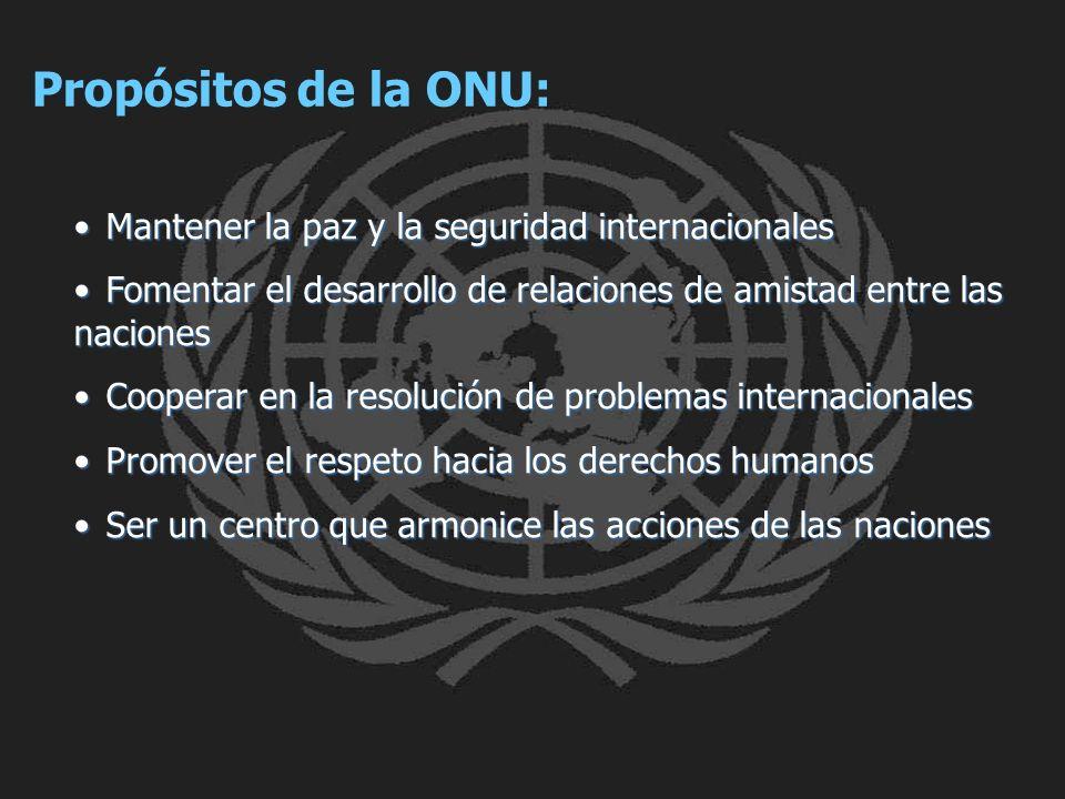 Mantener la paz y la seguridad internacionales Mantener la paz y la seguridad internacionales Fomentar el desarrollo de relaciones de amistad entre la