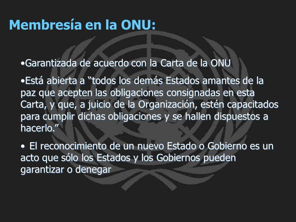 Membresía en la ONU: Garantizada de acuerdo con la Carta de la ONUGarantizada de acuerdo con la Carta de la ONU Está abierta a todos los demás Estados
