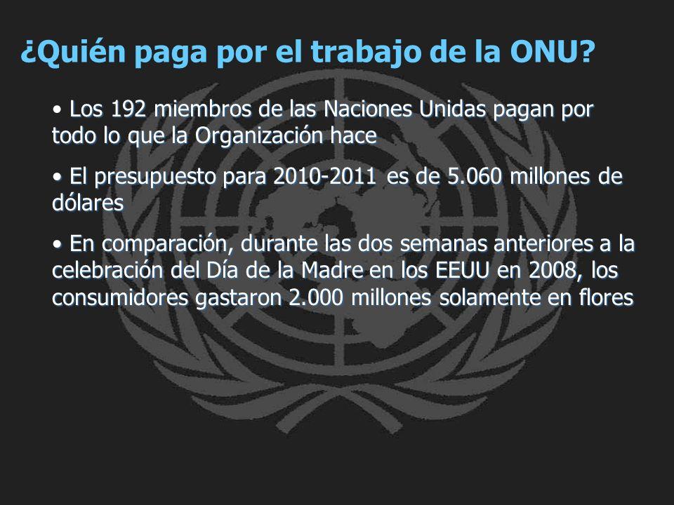 ¿Quién paga por el trabajo de la ONU? Los 192 miembros de las Naciones Unidas pagan por todo lo que la Organización hace El presupuesto para 2010-2011