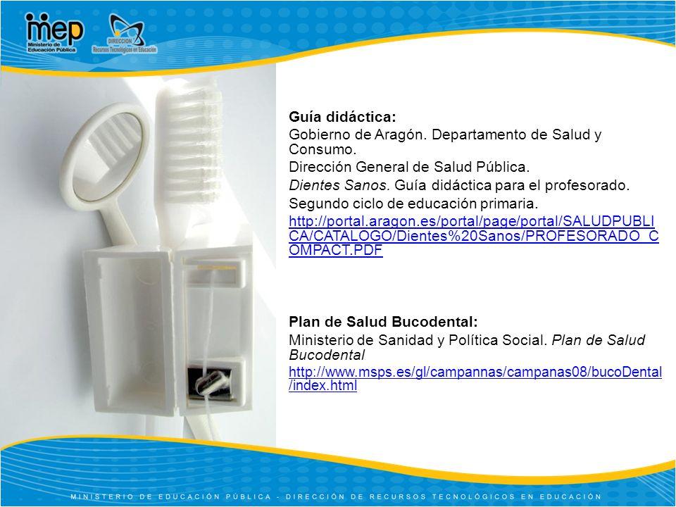 Guía didáctica: Gobierno de Aragón.Departamento de Salud y Consumo.