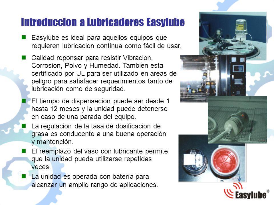 Introduccion a Lubricadores Easylube El reemplazo del vaso con lubricante permite que la unidad pueda utilizarse repetidas veces. La unidad es operada
