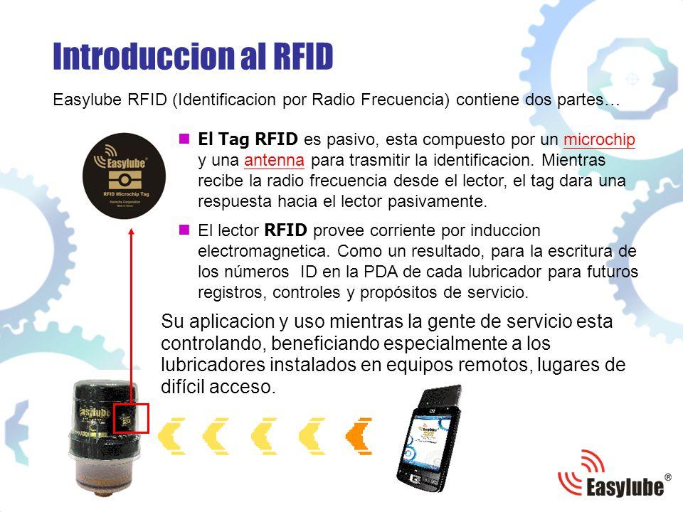 Introduccion al RFID Easylube RFID (Identificacion por Radio Frecuencia) contiene dos partes… El Tag RFID e s pasivo, esta compuesto por un microchip y una antenna para trasmitir la identificacion.