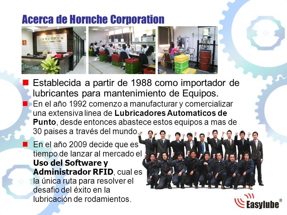 Acerca de Hornche Corporation Establecida a partir de 1988 como importador de lubricantes para mantenimiento de Equipos.