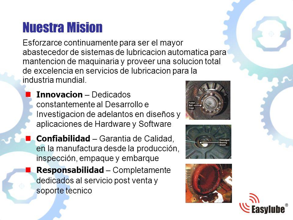 Nuestra Mision Esforzarce continuamente para ser el mayor abastecedor de sistemas de lubricacion automatica para mantencion de maquinaria y proveer una solucion total de excelencia en servicios de lubricacion para la industria mundial.