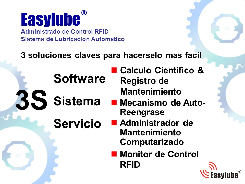 3 soluciones claves para hacerselo mas facil Calculo Cientifico & Registro de Mantenimiento Easylube ® Administrado de Control RFID Sistema de Lubricacion Automatico 3S Software Mecanismo de Auto- Reengrase Monitor de Control RFID Sistema Servicio Administrador de Mantenimiento Computarizado