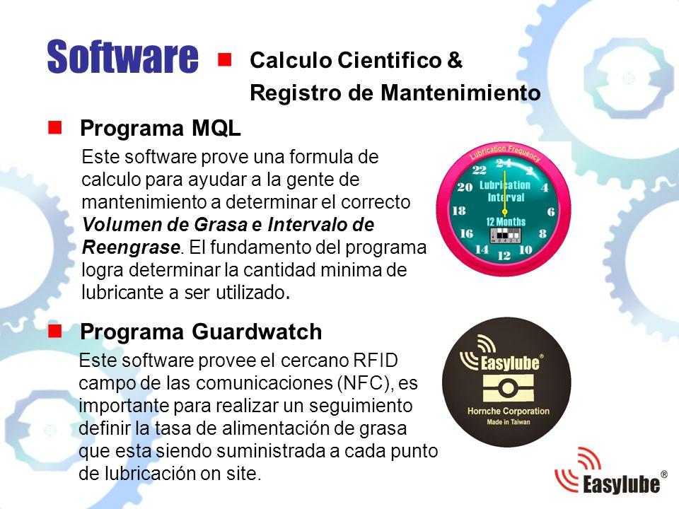 Programa MQL Software Calculo Cientifico & Registro de Mantenimiento Este software prove una formula de calculo para ayudar a la gente de mantenimiento a determinar el correcto Volumen de Grasa e Intervalo de Reengrase.
