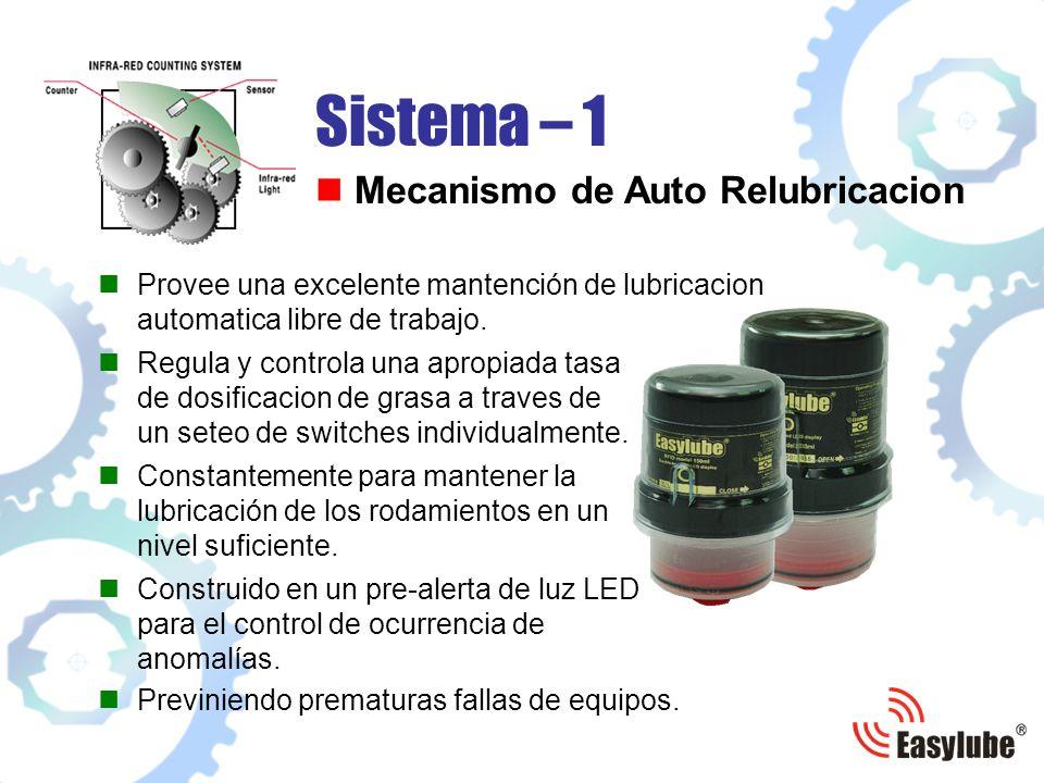 Previniendo prematuras fallas de equipos. Provee una excelente mantención de lubricacion automatica libre de trabajo. Sistema – 1 Mecanismo de Auto Re