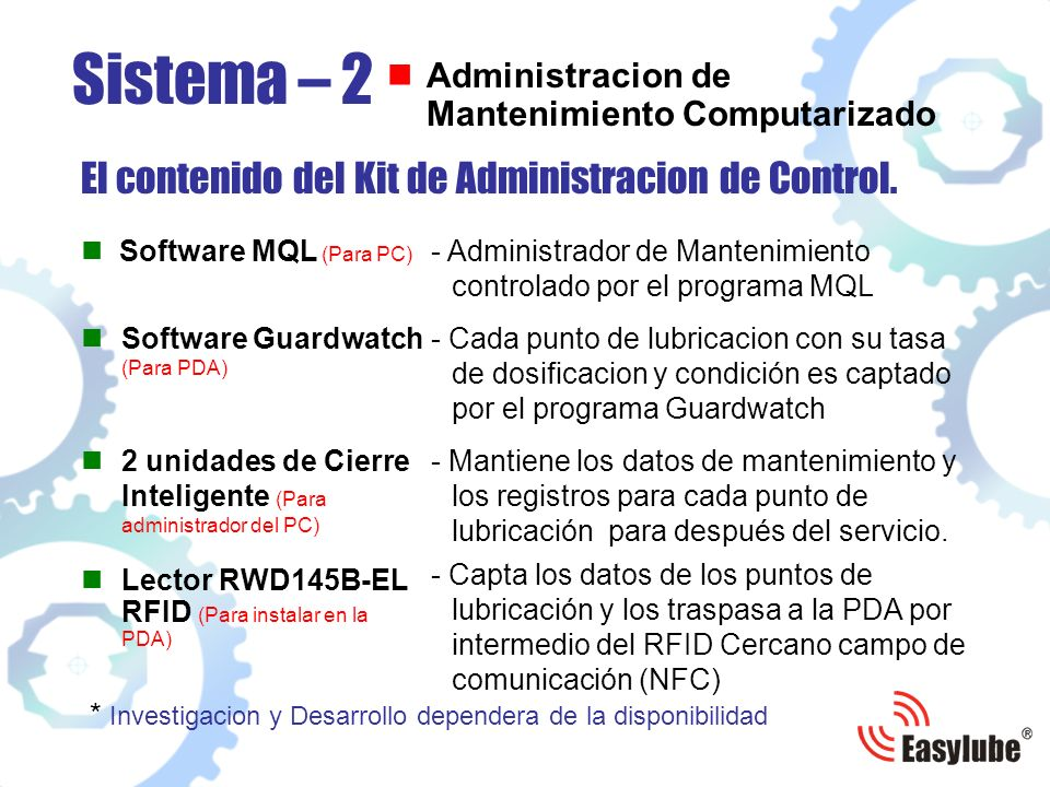 Software MQL (Para PC) El contenido del Kit de Administracion de Control.