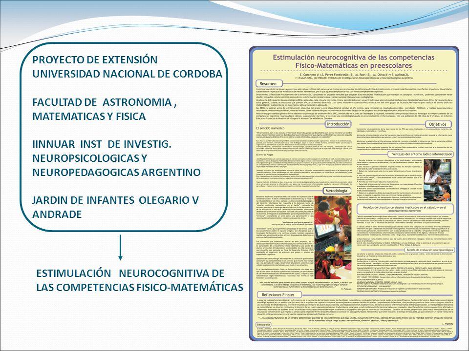 PROYECTO DE EXTENSIÓN UNIVERSIDAD NACIONAL DE CORDOBA FACULTAD DE ASTRONOMIA, MATEMATICAS Y FISICA IINNUAR INST DE INVESTIG.