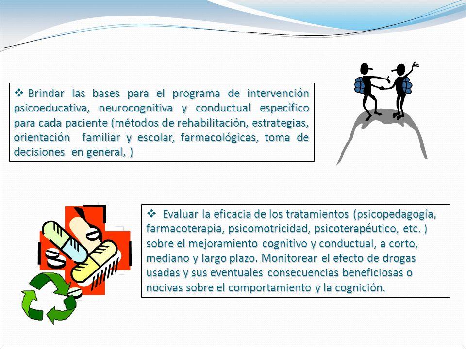 Evaluar la eficacia de los tratamientos (psicopedagogía, farmacoterapia, psicomotricidad, psicoterapéutico, etc.