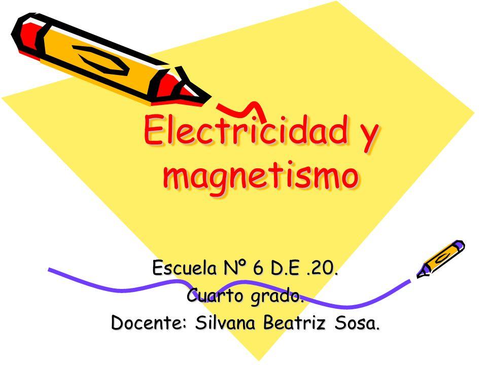 Electricidad y magnetismo Escuela Nº 6 D.E.20. Cuarto grado. Docente: Silvana Beatriz Sosa.