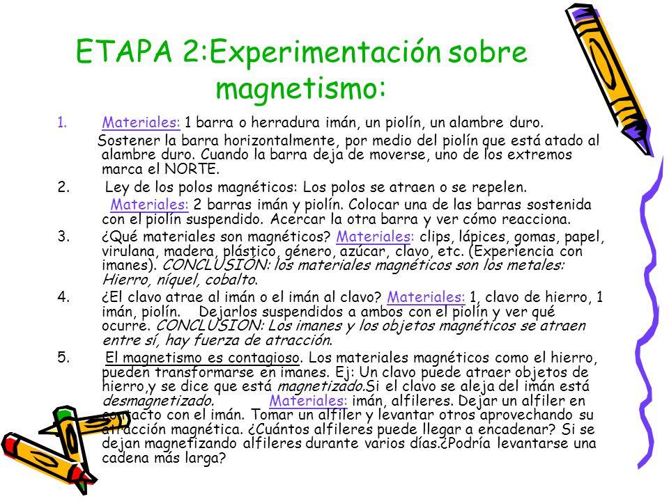 ETAPA 2:Experimentación sobre magnetismo: 1.Materiales: 1 barra o herradura imán, un piolín, un alambre duro. Sostener la barra horizontalmente, por m