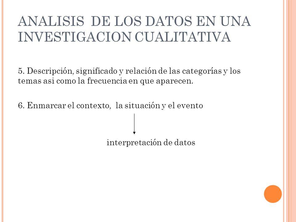 ANALISIS DE LOS DATOS EN UNA INVESTIGACION CUALITATIVA 5. Descripción, significado y relación de las categorías y los temas asi como la frecuencia en