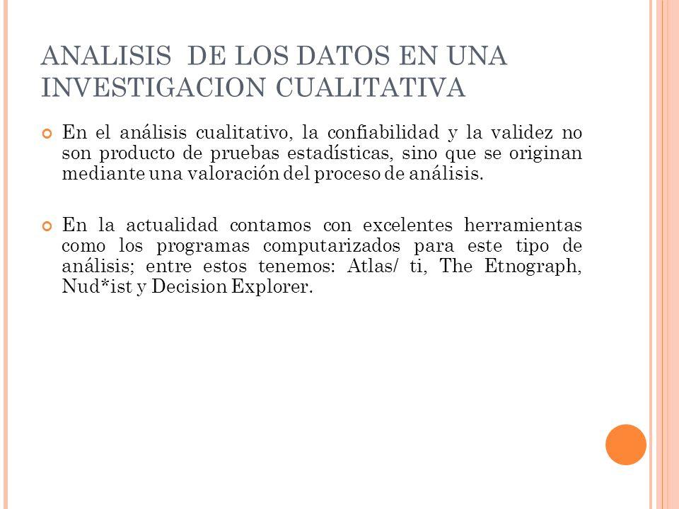 ANALISIS DE LOS DATOS EN UNA INVESTIGACION CUALITATIVA En el análisis cualitativo, la confiabilidad y la validez no son producto de pruebas estadístic