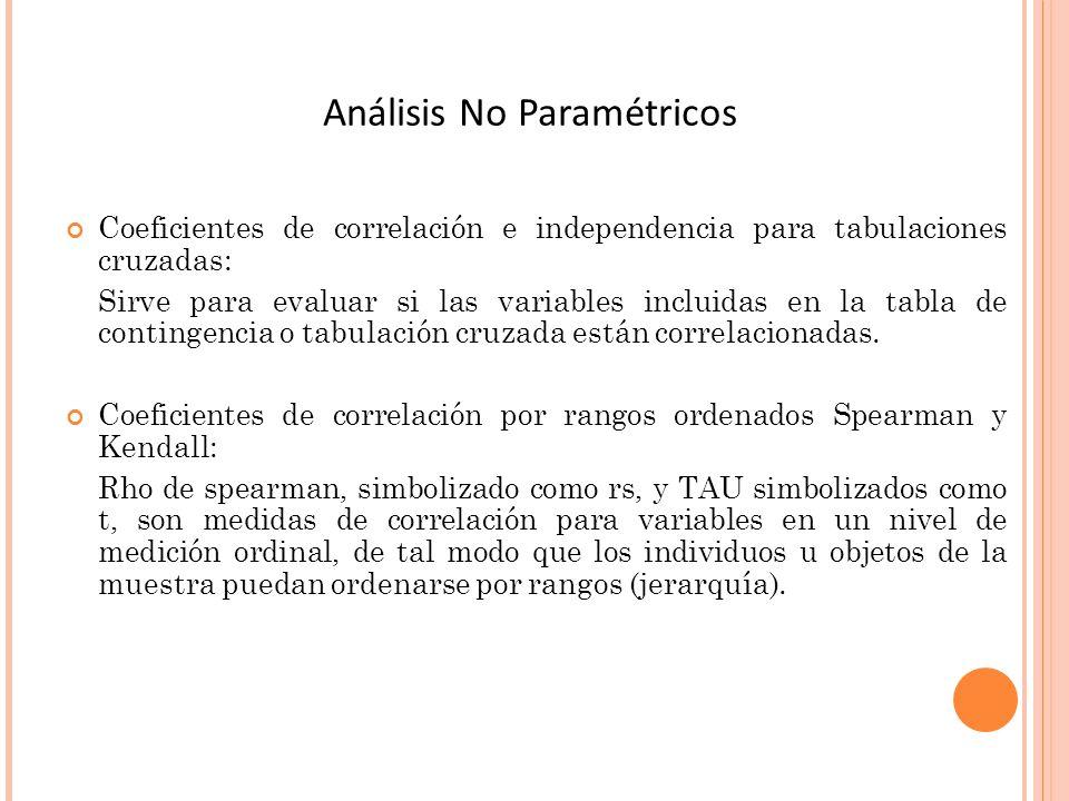 Coeficientes de correlación e independencia para tabulaciones cruzadas: Sirve para evaluar si las variables incluidas en la tabla de contingencia o ta
