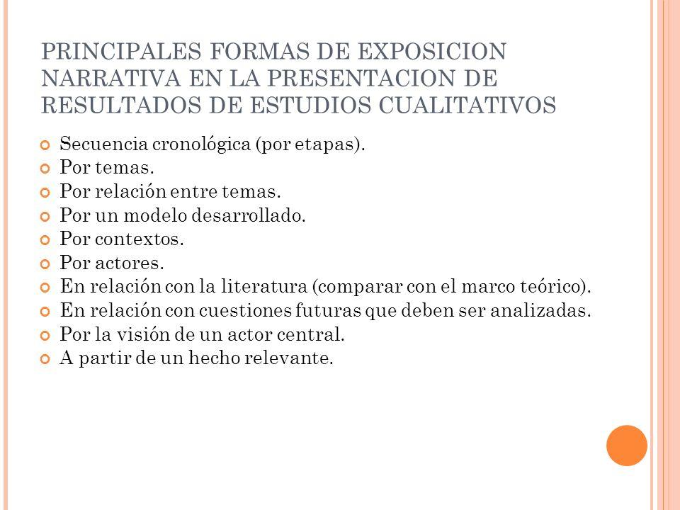 PRINCIPALES FORMAS DE EXPOSICION NARRATIVA EN LA PRESENTACION DE RESULTADOS DE ESTUDIOS CUALITATIVOS Secuencia cronológica (por etapas). Por temas. Po