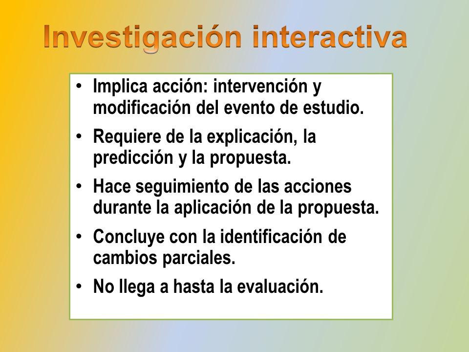 Implica acción: intervención y modificación del evento de estudio. Requiere de la explicación, la predicción y la propuesta. Hace seguimiento de las a