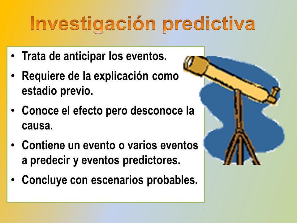Trata de anticipar los eventos. Requiere de la explicación como estadio previo. Conoce el efecto pero desconoce la causa. Contiene un evento o varios