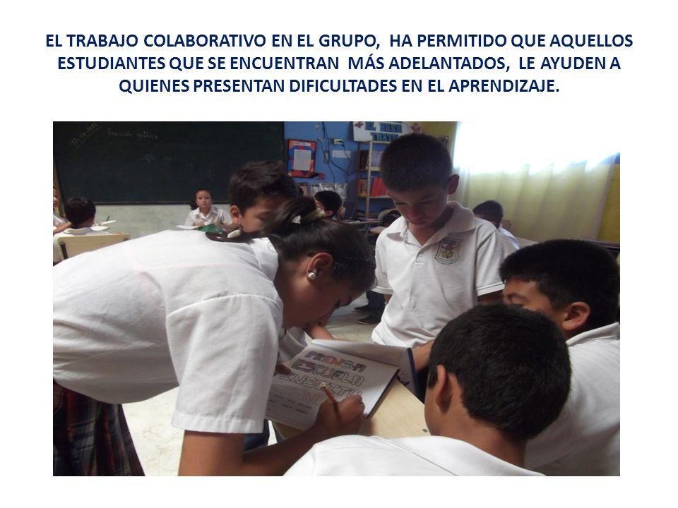 EL TRABAJO COLABORATIVO EN EL GRUPO, HA PERMITIDO QUE AQUELLOS ESTUDIANTES QUE SE ENCUENTRAN MÁS ADELANTADOS, LE AYUDEN A QUIENES PRESENTAN DIFICULTAD