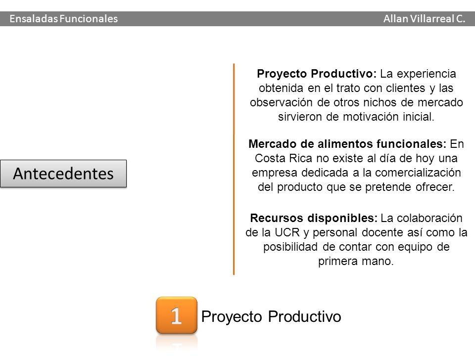 Antecedentes Proyecto Productivo Ensaladas Funcionales Allan Villarreal C. Mercado de alimentos funcionales: En Costa Rica no existe al día de hoy una