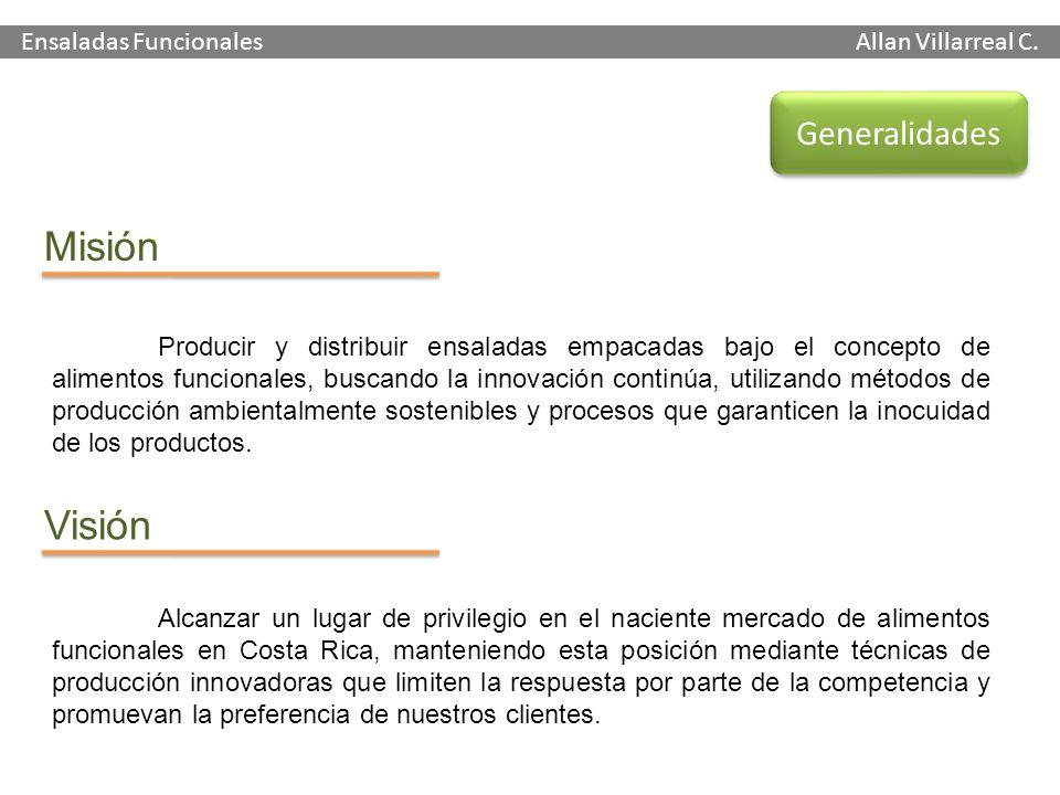 Ensaladas Funcionales Allan Villarreal C. Generalidades Misión Visión Producir y distribuir ensaladas empacadas bajo el concepto de alimentos funciona