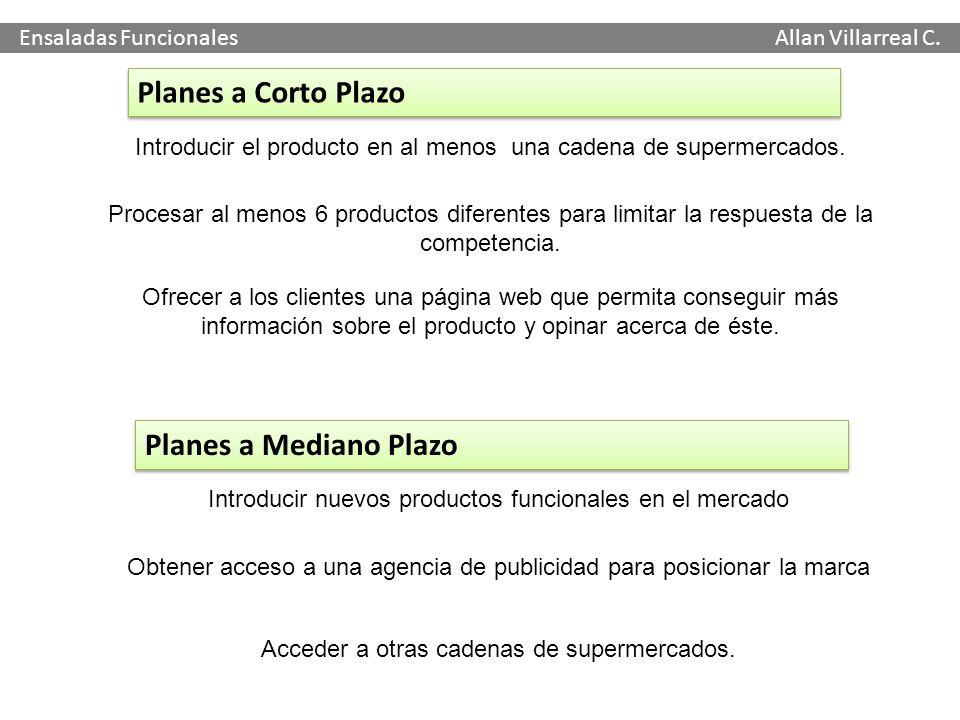 Ensaladas Funcionales Allan Villarreal C. Introducir el producto en al menos una cadena de supermercados. Procesar al menos 6 productos diferentes par