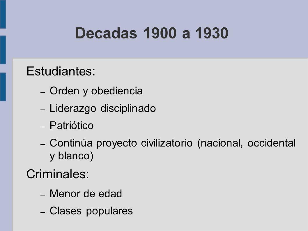 Decadas 1900 a 1930 Estudiantes: – Orden y obediencia – Liderazgo disciplinado – Patriótico – Continúa proyecto civilizatorio (nacional, occidental y blanco) Criminales: – Menor de edad – Clases populares