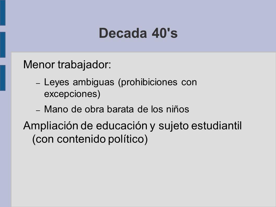 Decada 40 s Menor trabajador: – Leyes ambiguas (prohibiciones con excepciones) – Mano de obra barata de los niños Ampliación de educación y sujeto estudiantil (con contenido político)
