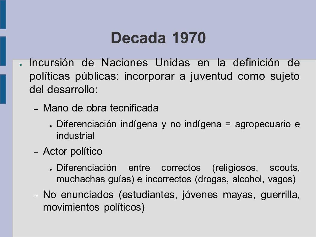 Decada 1970 Incursión de Naciones Unidas en la definición de políticas públicas: incorporar a juventud como sujeto del desarrollo: – Mano de obra tecn