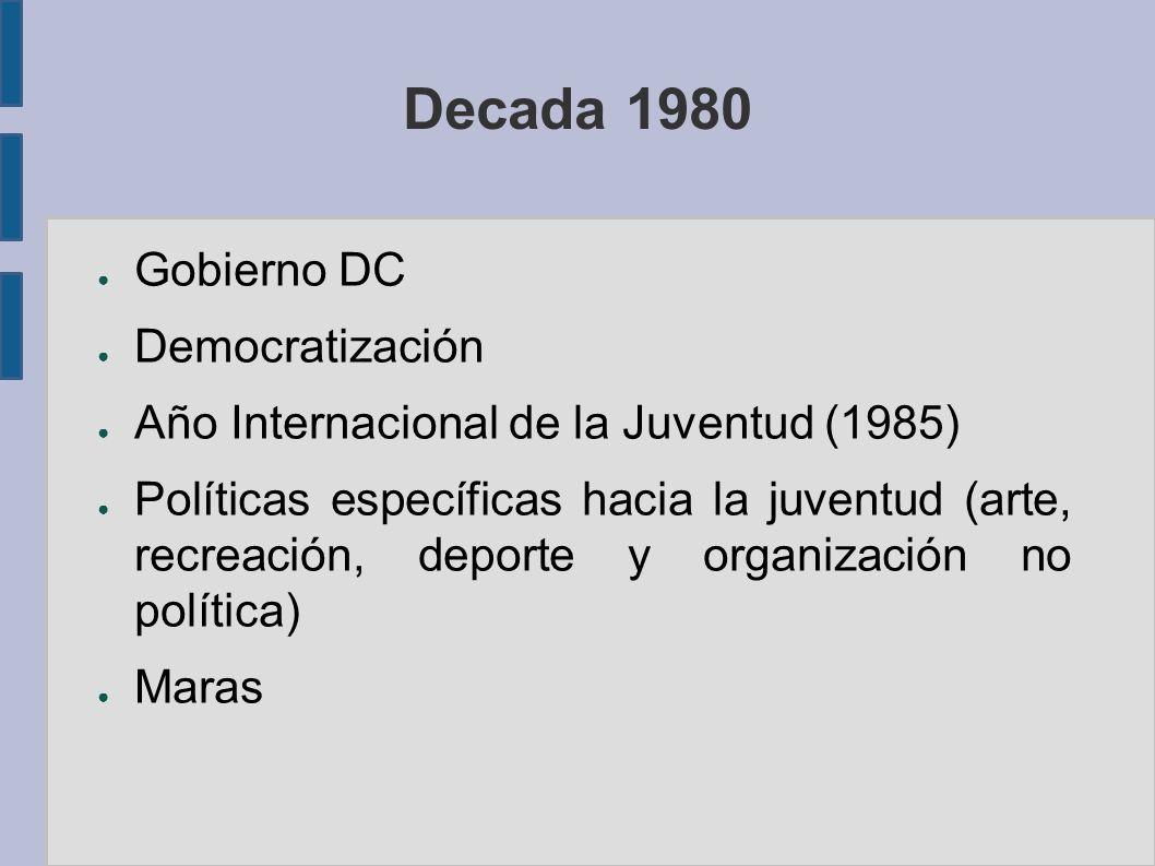 Decada 1980 Gobierno DC Democratización Año Internacional de la Juventud (1985) Políticas específicas hacia la juventud (arte, recreación, deporte y organización no política) Maras