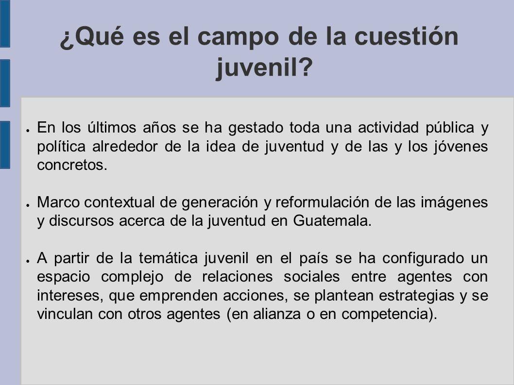 ¿Qué es el campo de la cuestión juvenil? En los últimos años se ha gestado toda una actividad pública y política alrededor de la idea de juventud y de
