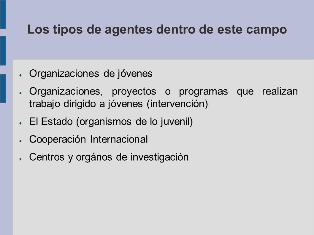 Los tipos de agentes dentro de este campo Organizaciones de jóvenes Organizaciones, proyectos o programas que realizan trabajo dirigido a jóvenes (intervención) El Estado (organismos de lo juvenil) Cooperación Internacional Centros y orgános de investigación