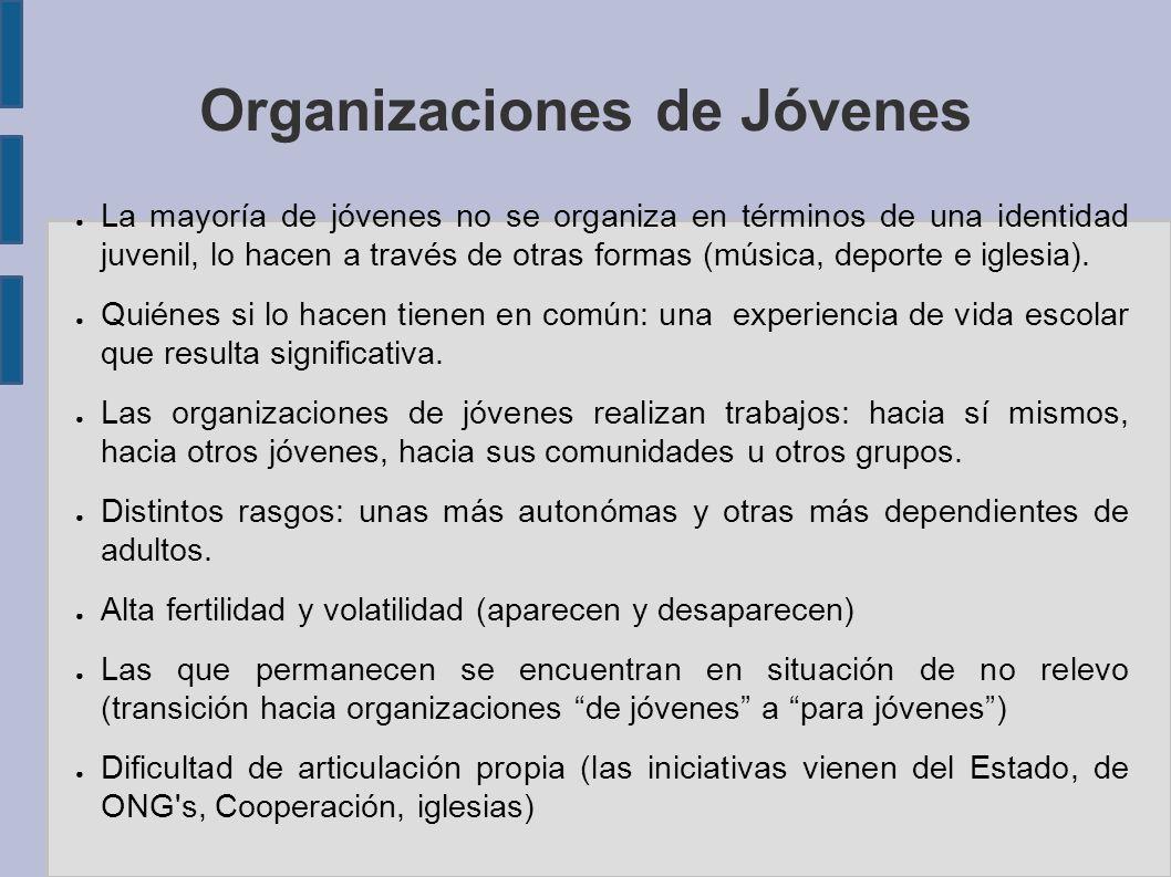 Organizaciones de Jóvenes La mayoría de jóvenes no se organiza en términos de una identidad juvenil, lo hacen a través de otras formas (música, deporte e iglesia).