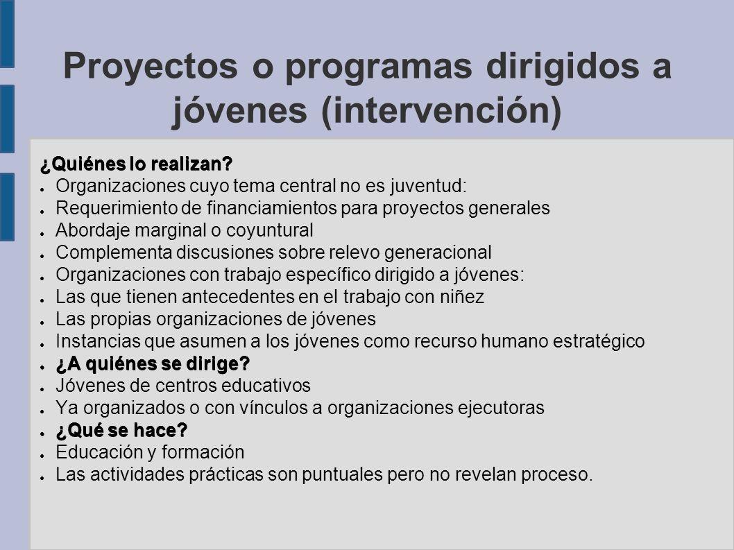 Proyectos o programas dirigidos a jóvenes (intervención) ¿Quiénes lo realizan? Organizaciones cuyo tema central no es juventud: Requerimiento de finan