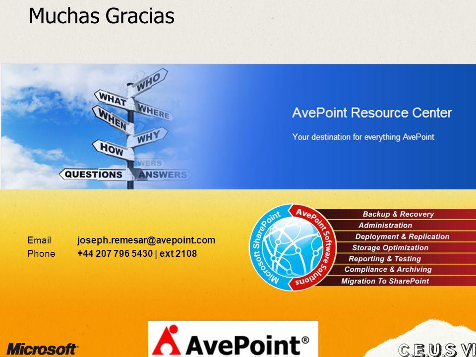 Muchas Gracias Email joseph.remesar@avepoint.com Phone +44 207 796 5430 | ext 2108