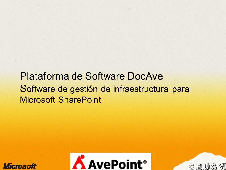 Plataforma de Software DocAve S oftware de gestión de infraestructura para Microsoft SharePoint