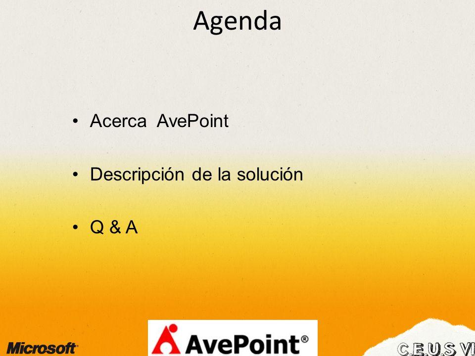 Agenda Acerca AvePoint Descripción de la solución Q & A