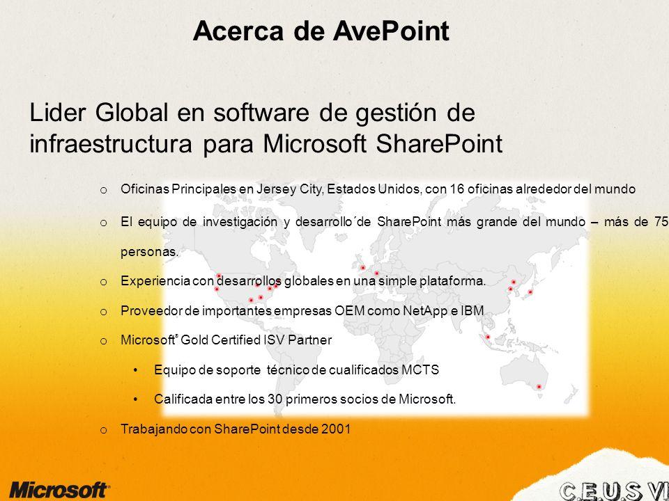 Acerca de AvePoint Lider Global en software de gestión de infraestructura para Microsoft SharePoint o Oficinas Principales en Jersey City, Estados Unidos, con 16 oficinas alrededor del mundo o El equipo de investigación y desarrollo´de SharePoint más grande del mundo – más de 750 personas.