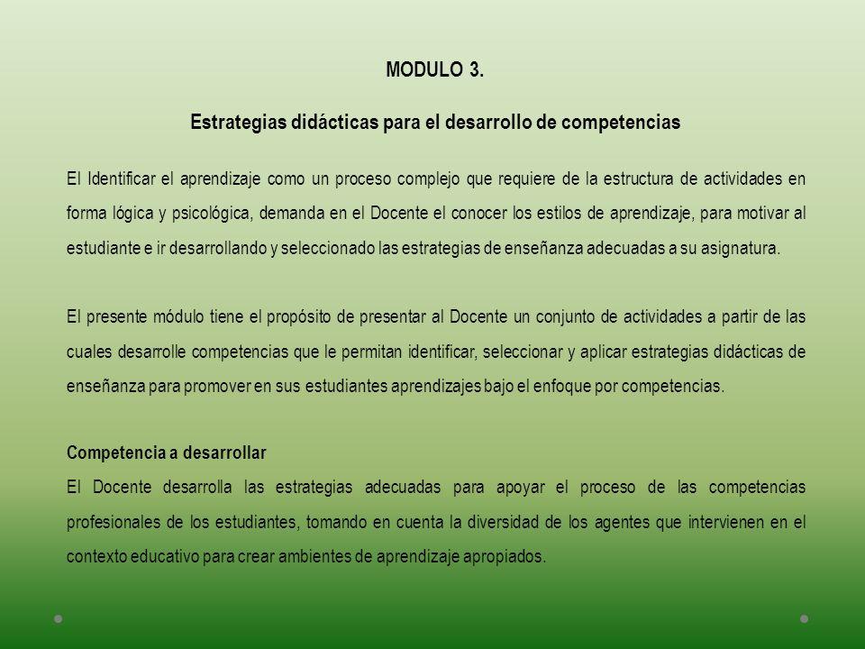 MODULO 3. Estrategias didácticas para el desarrollo de competencias El Identificar el aprendizaje como un proceso complejo que requiere de la estructu